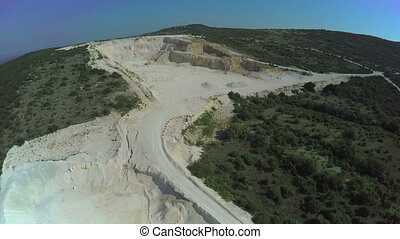 Calcium carbonate quarry, aerial shot - Copter aerial view...