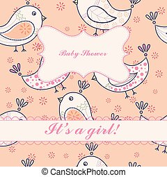 Vintage birds baby shower girl