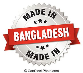 made in Bangladesh silver badge with red ribbon