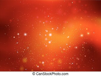 Orange background with highlights and stars, vector art...