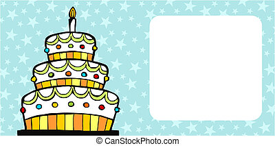 Birthday cake card - invitation card with white birthday...