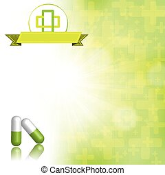 Medical abstract green white background