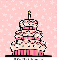 粉紅色, 蛋糕, 生日