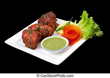 Tandoori Chicken with a salad - Delicious Indian tandoori...