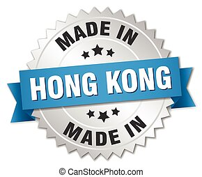 made in Hong Kong silver badge with blue ribbon