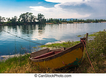 Old boat in Delta del Ebro - Old boat on bank in Delta del...
