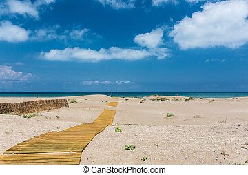 Sandy beach in Delta del Ebro - Walkway on the sandy beach...