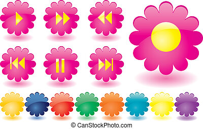 Music buttons as pink flowers