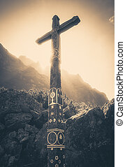 Wooden cross in High Tatras mountains, Slovakia