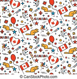Seamles pattern for Canada Day 1st of July.