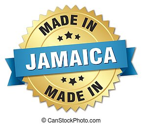 made in Jamaica gold badge with blue ribbon