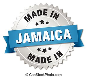 made in Jamaica silver badge with blue ribbon