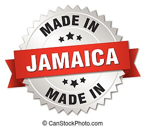 made in Jamaica silver badge with red ribbon