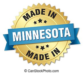 made in Minnesota gold badge with blue ribbon