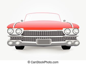retro car - vector illustration of red retro car isolated on...