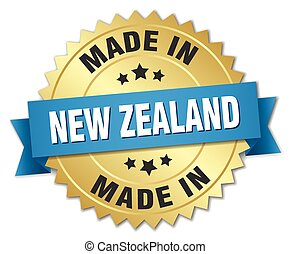 made in New Zealand gold badge with blue ribbon