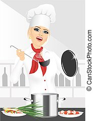 smiling female chef, cook or baker cooking