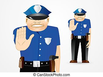 policeman showing stop gesture - illustration of serious...