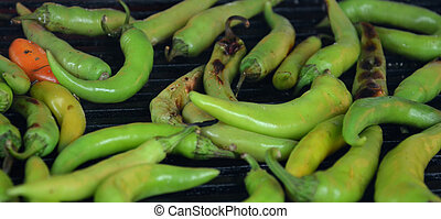 Green paprika on a grill - Picture of a Green paprika on a...