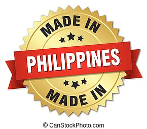 made in Philippines gold badge with red ribbon