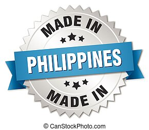 made in Philippines silver badge with blue ribbon