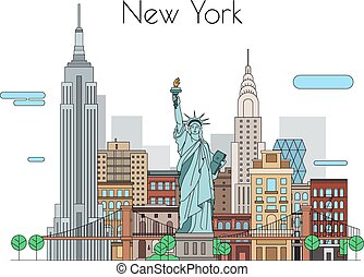 Vector city Illustrations to travel New York linear icons