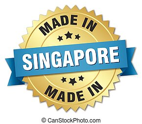made in Singapore gold badge with blue ribbon