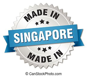 made in Singapore silver badge with blue ribbon