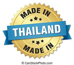 made in Thailand gold badge with blue ribbon