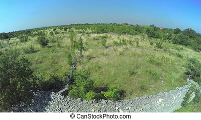 Stone wall in Dalmatian hinterland, aerial shot - Copter...