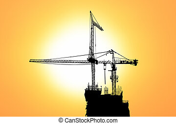 Sunset and silhouette construction