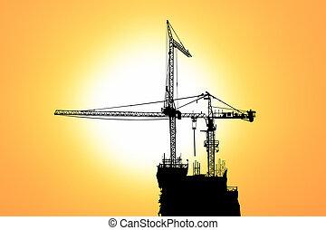傍晚, 建設, 黑色半面畫像