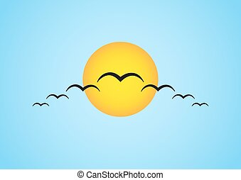 Simple illustration of migrating birds in front of the sun