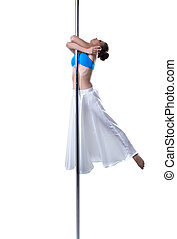 Pole dance. Cute girl dancing, isolated on white