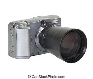Small 2 mega-pixel digital camera with long lens. Includes clipping path.