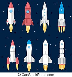 Space Rocket Start Up and Launch Symbol New Businesses...
