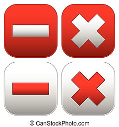 Set of buttons with cross and minus signs Delete, remove,...
