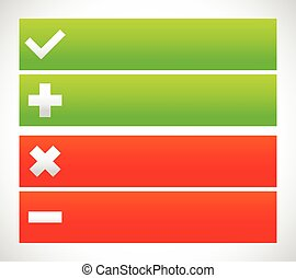 Banner set with check mark, cross, plus, minus signs.