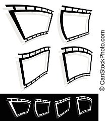Black and white filmstrip, photo strip vector graphics