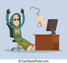 Hand catch hacker. Vector flat illustration