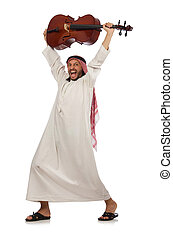 Arab man playing musical instrument
