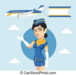 Stewardess and airplane behind her Vector flat illustration