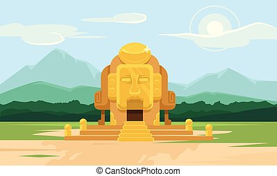 Vector gold tomb flat illustration