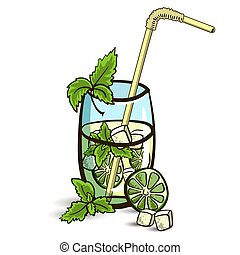 MojitoIsolated - Hand drawn cocktail - mojito with mint and...