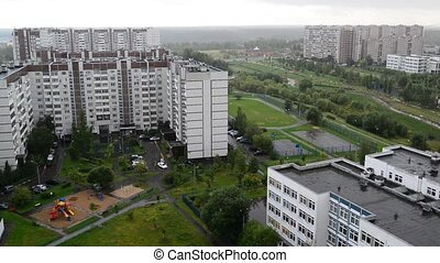 City landscape in rainy weather in Moscow Russia,