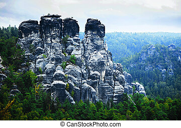 Bastei mountains in Saxon Switzerland, Germany