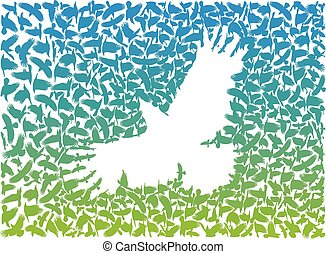 Crow from a flock of flying crows.eps - vector art flying...