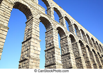 Roman aqueduct in Segovia - Perspective of ancient roman...