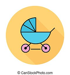 Pram icon - Pram thin line flat vector related icon set for...