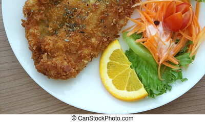 Fried battered Fish steak salad - Video of Fried battered...